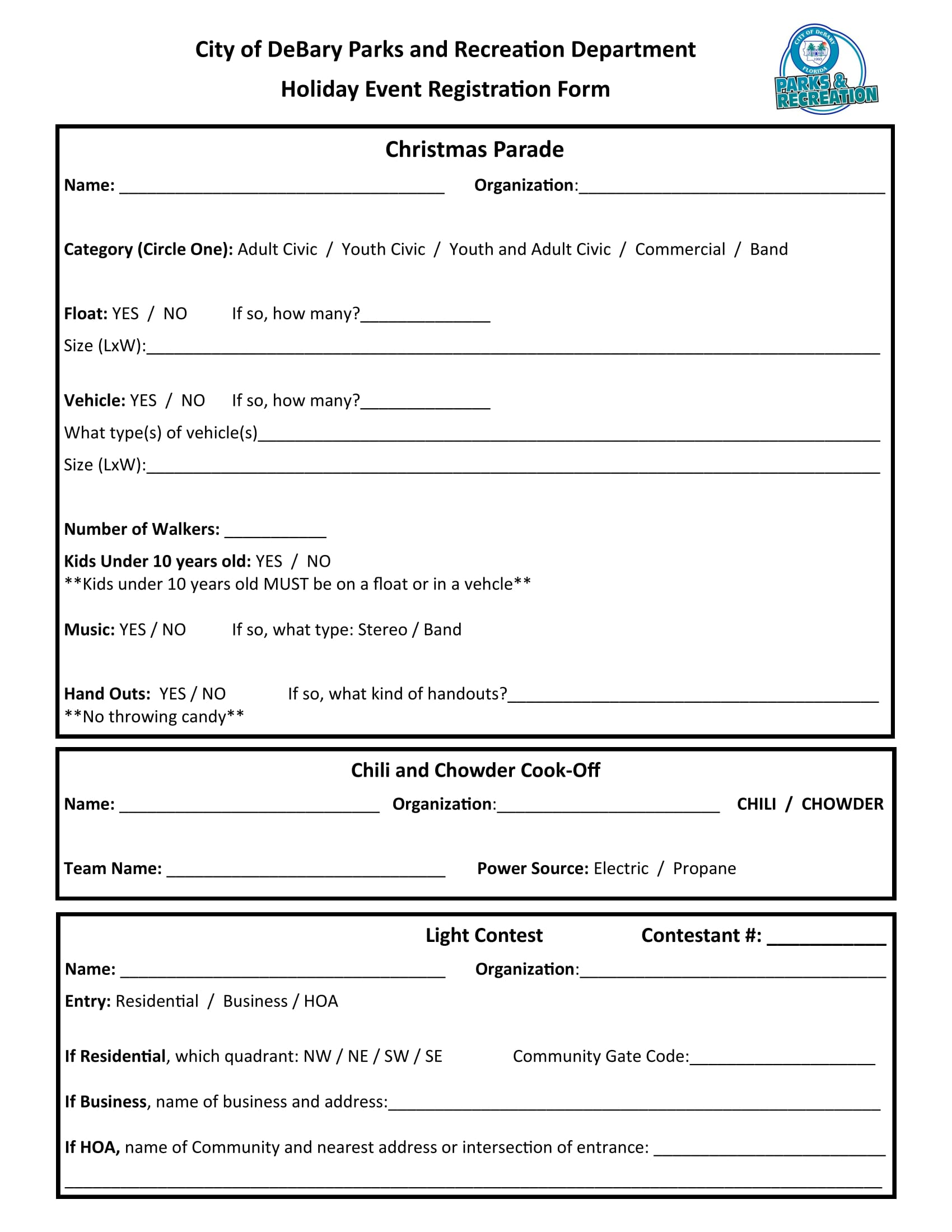 holiday event registration form 1