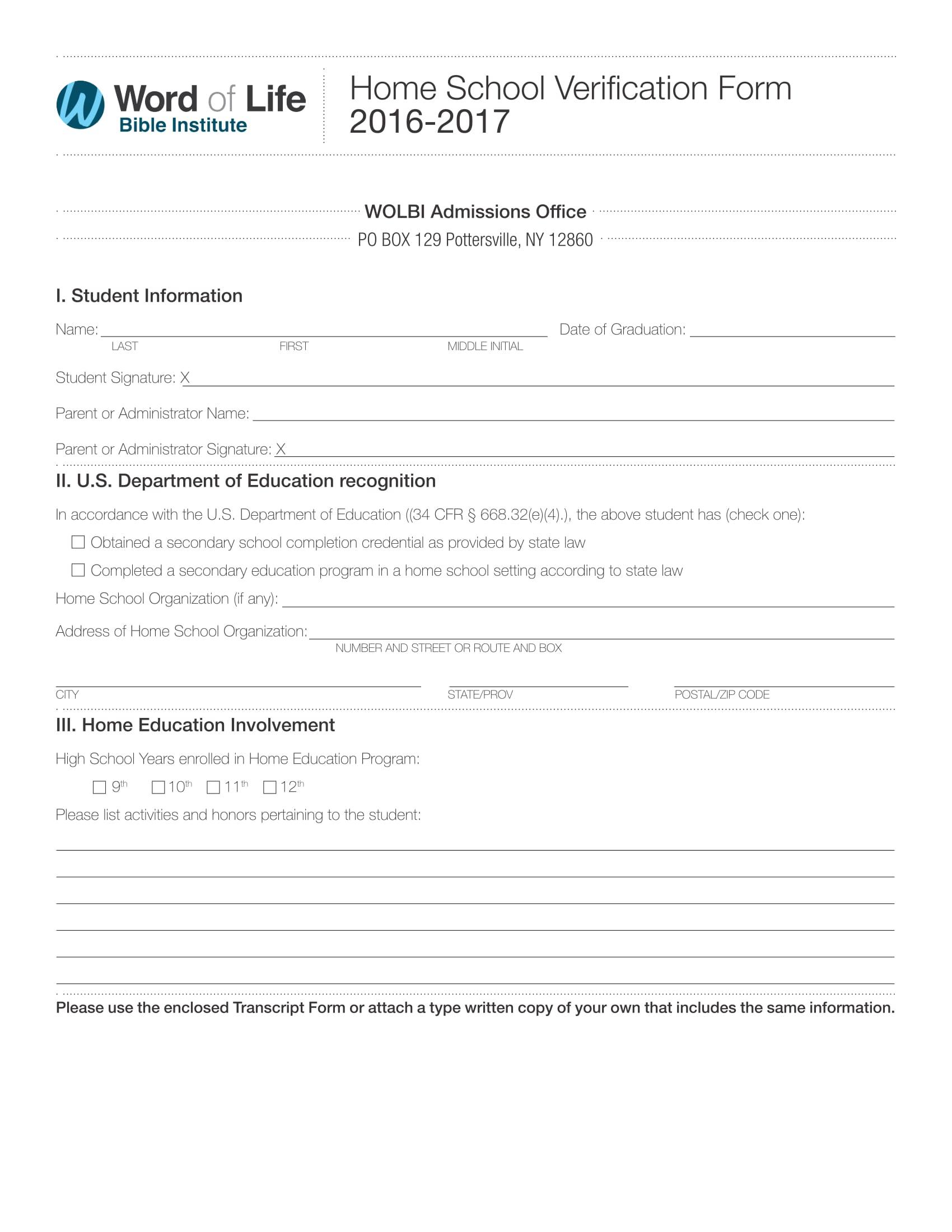 home school verification form 1