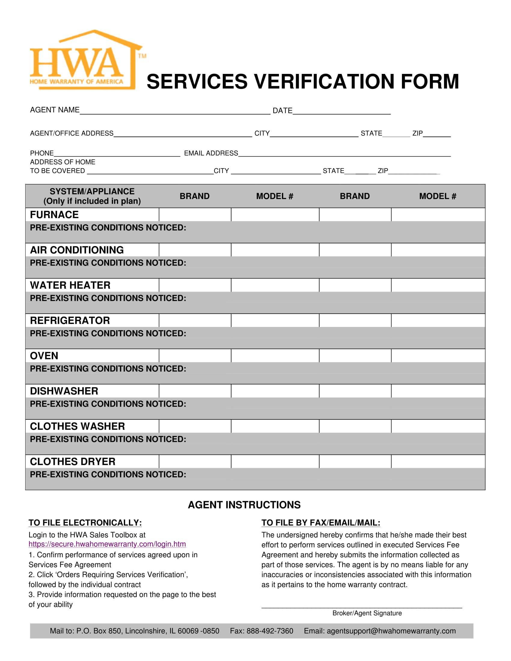 home service verification form 1