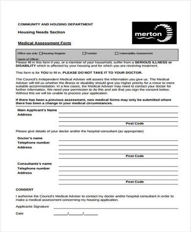housing needs medical assessment form 390