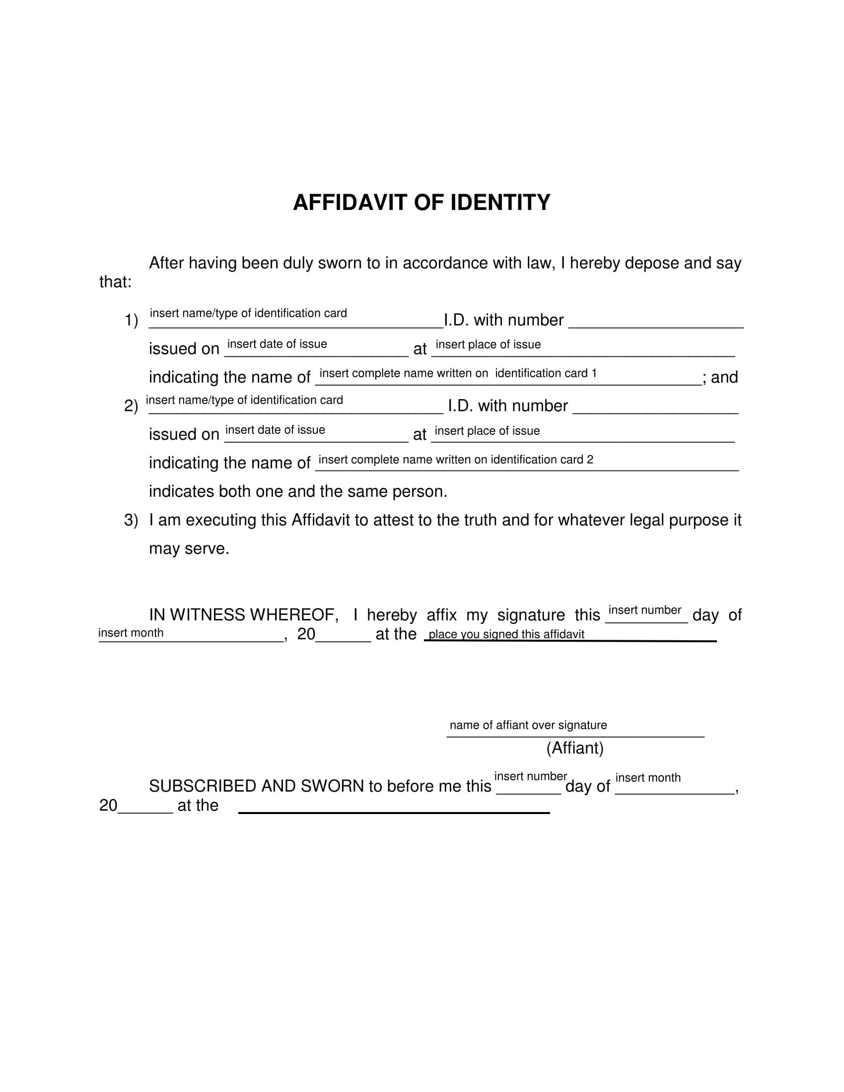 id card affidavit of identity 1