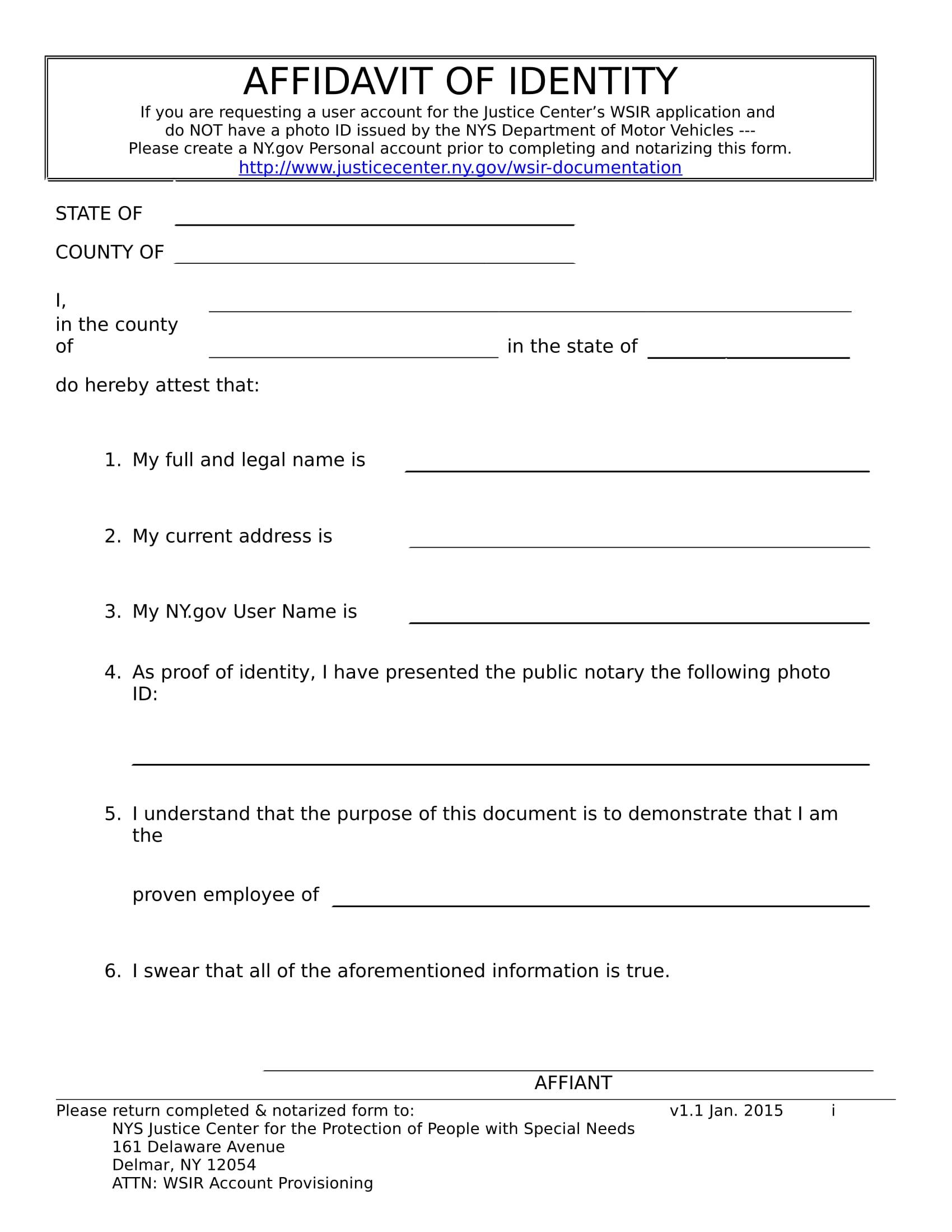 identity affidavit form sample 1