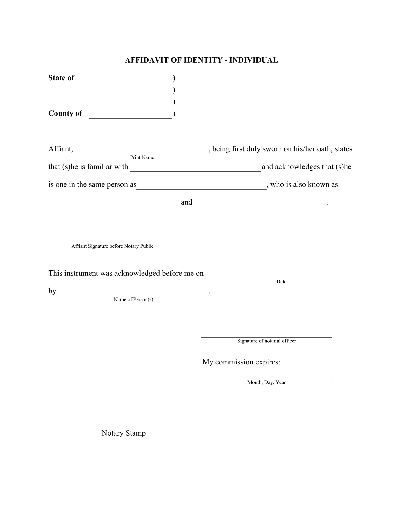 individual affidavit of identity form 1