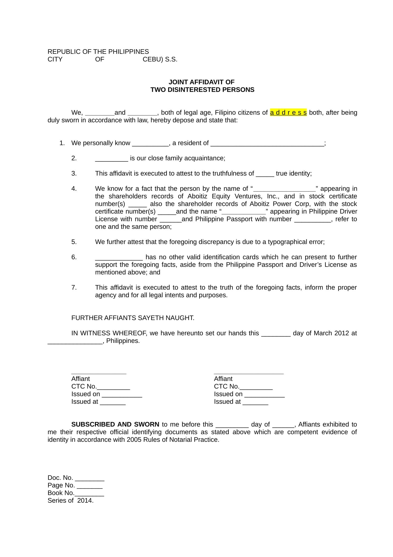 joint affidavit form sample 1