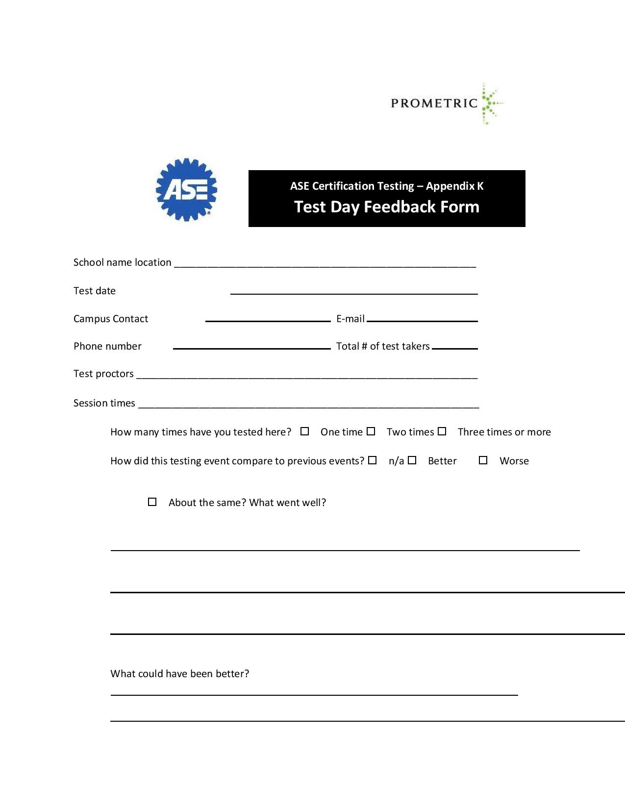 FREE 10+ Exam and Test Feedback Forms in PDF