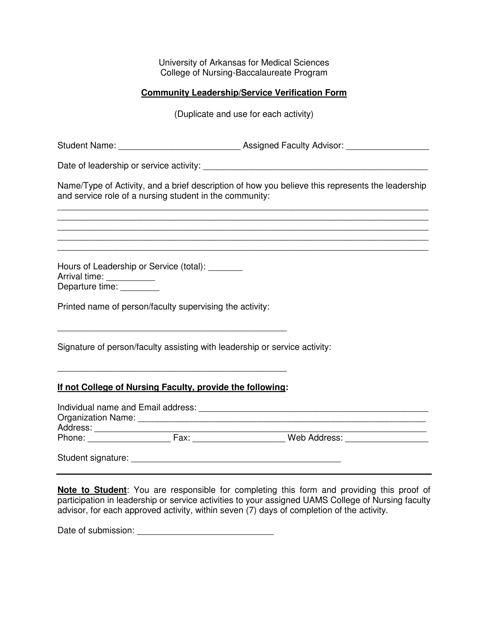leadership service verification form 1