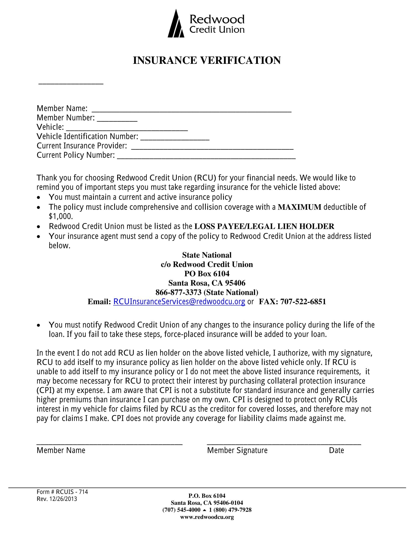 lien holder insurance verification form 1