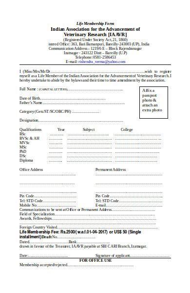life membership form