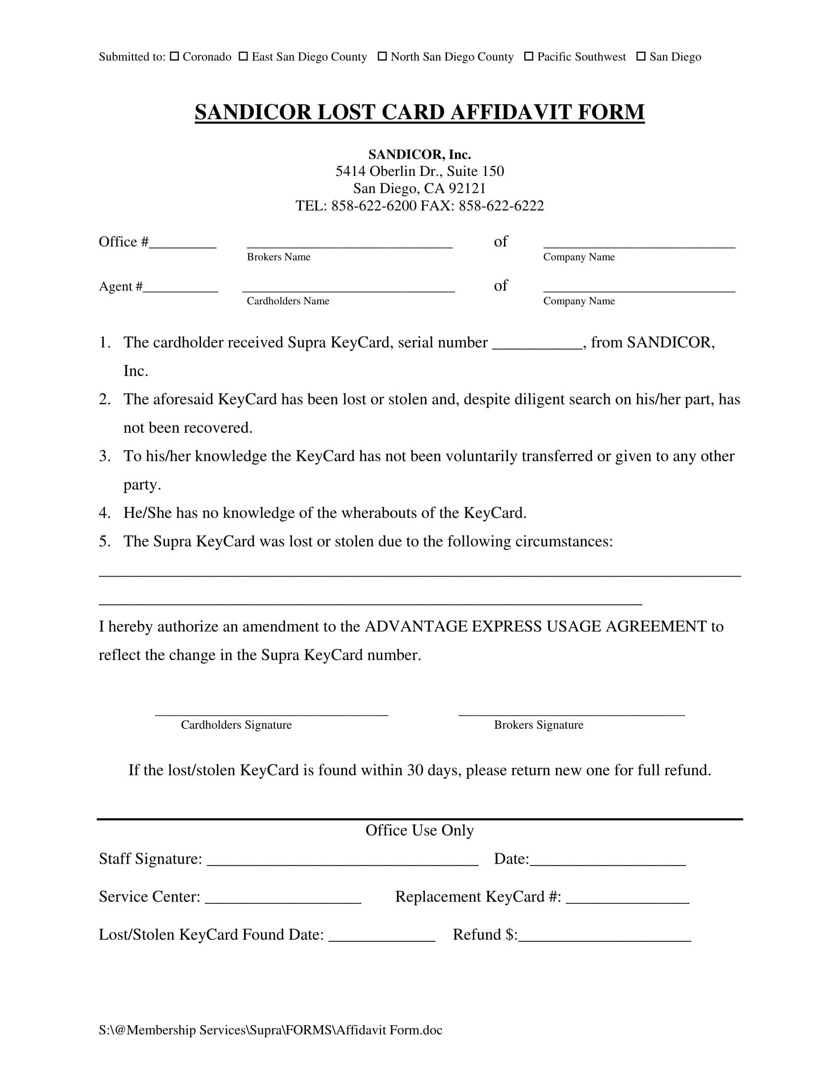 lost card affidavit sample format 1