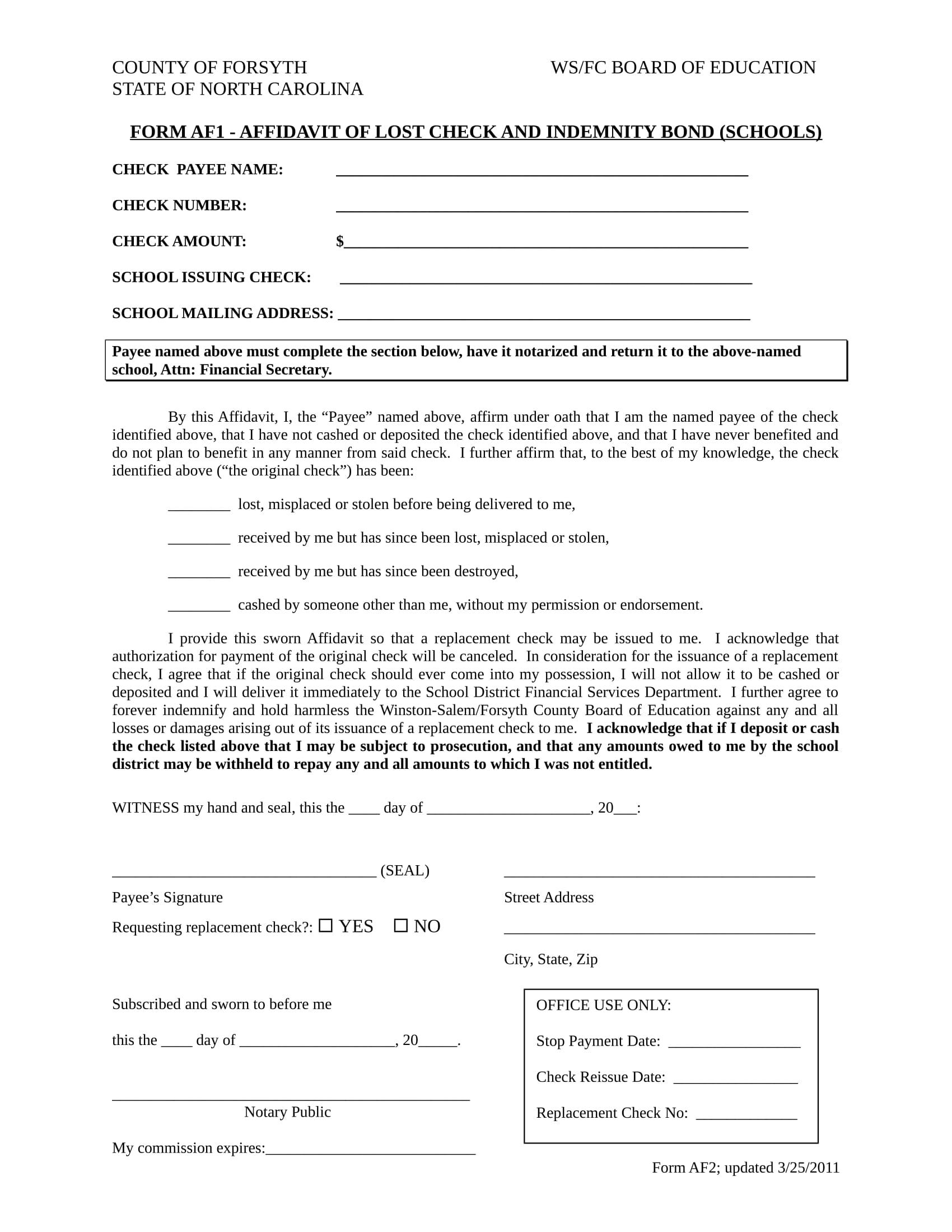 lost check affidavit form sample 1