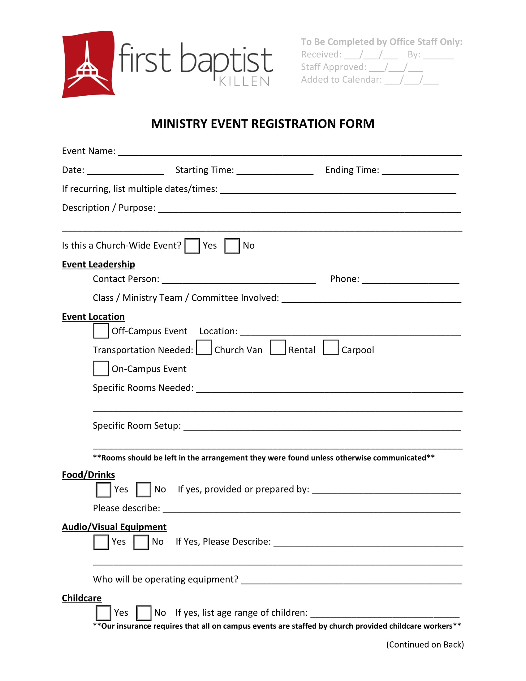 ministry event registration form 1