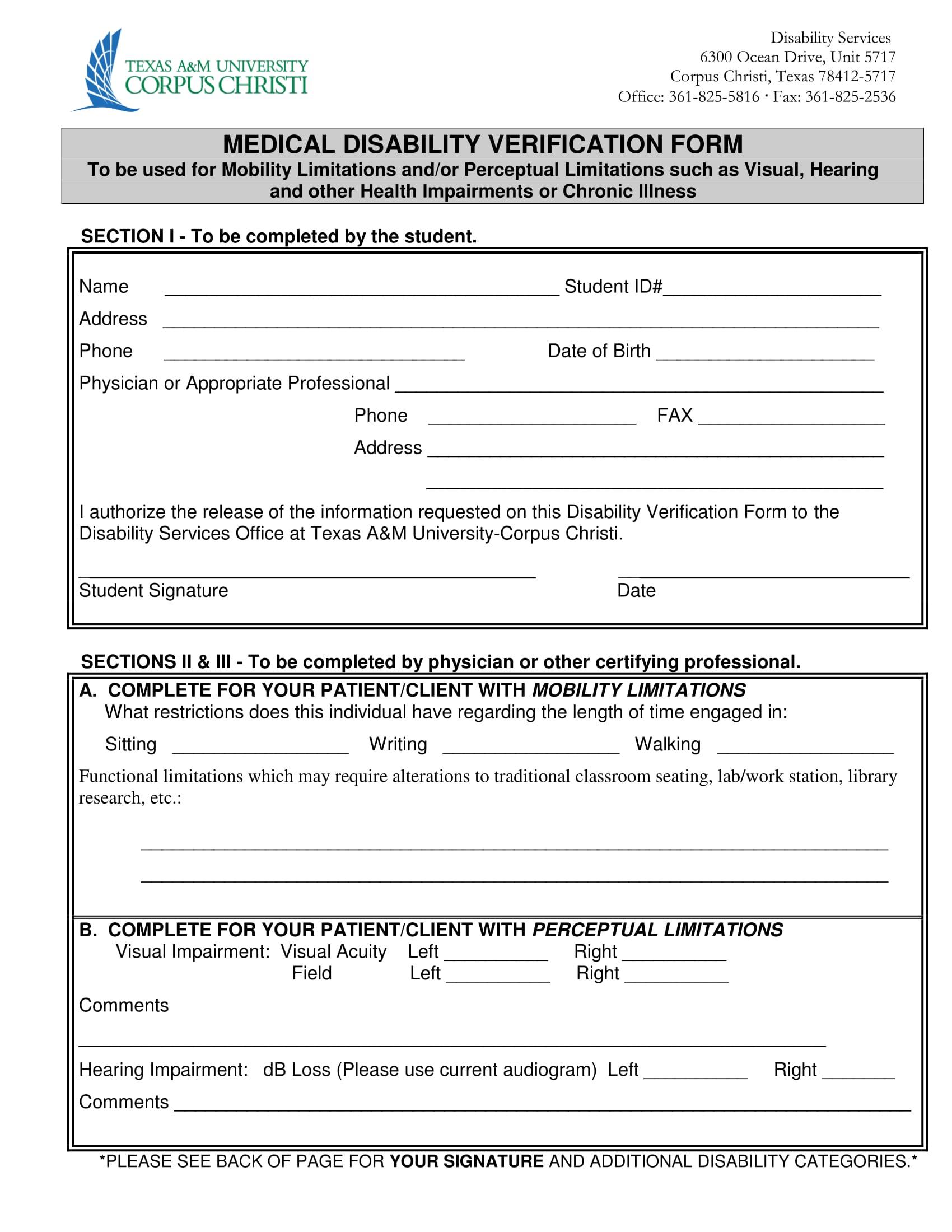 medical disability verification form 1