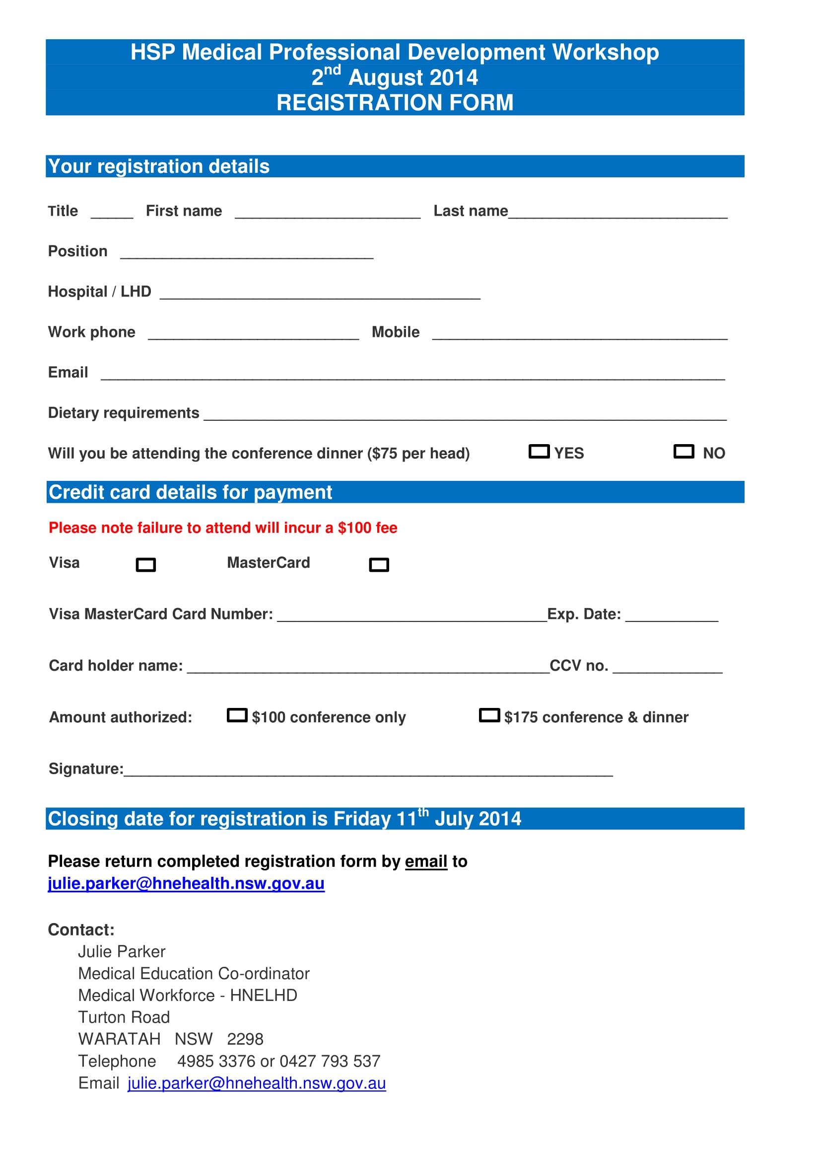 medical professional development workshop registration 2