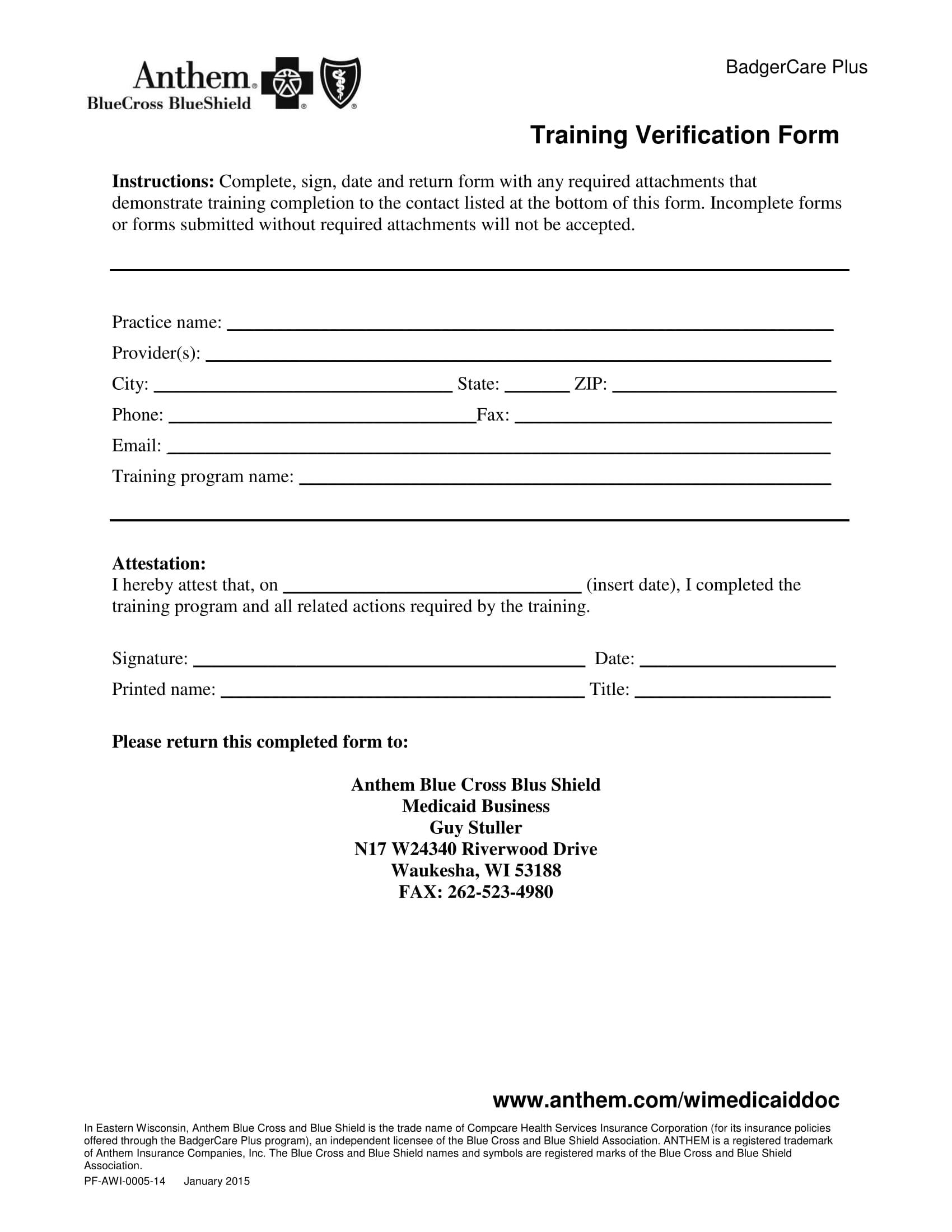 medical training verification form 1