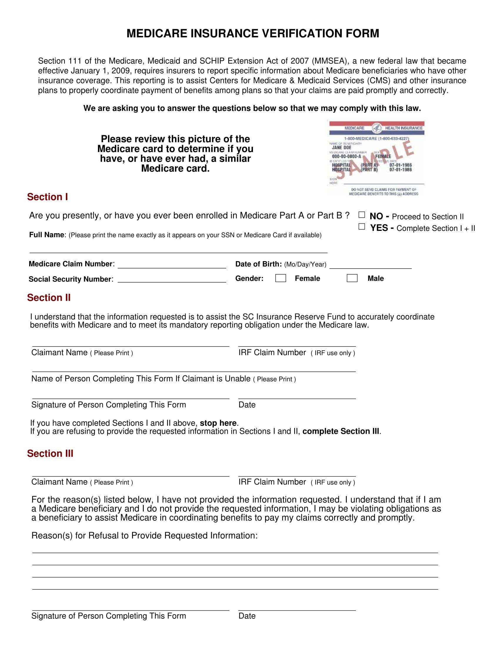 medicare insurance verification form 1