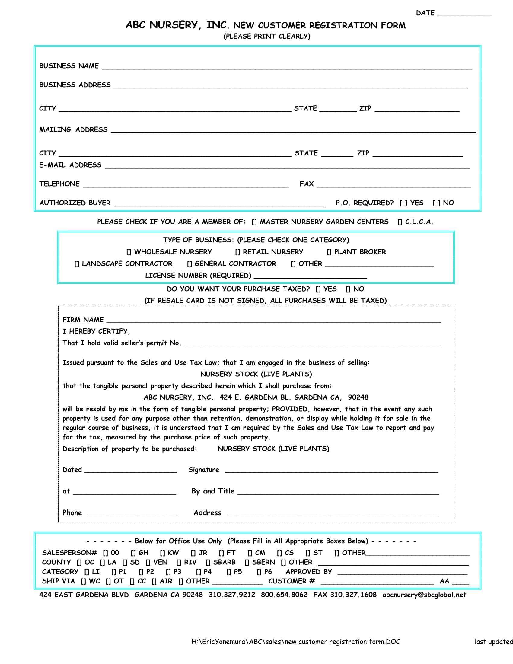 new nursery customer registration form 1
