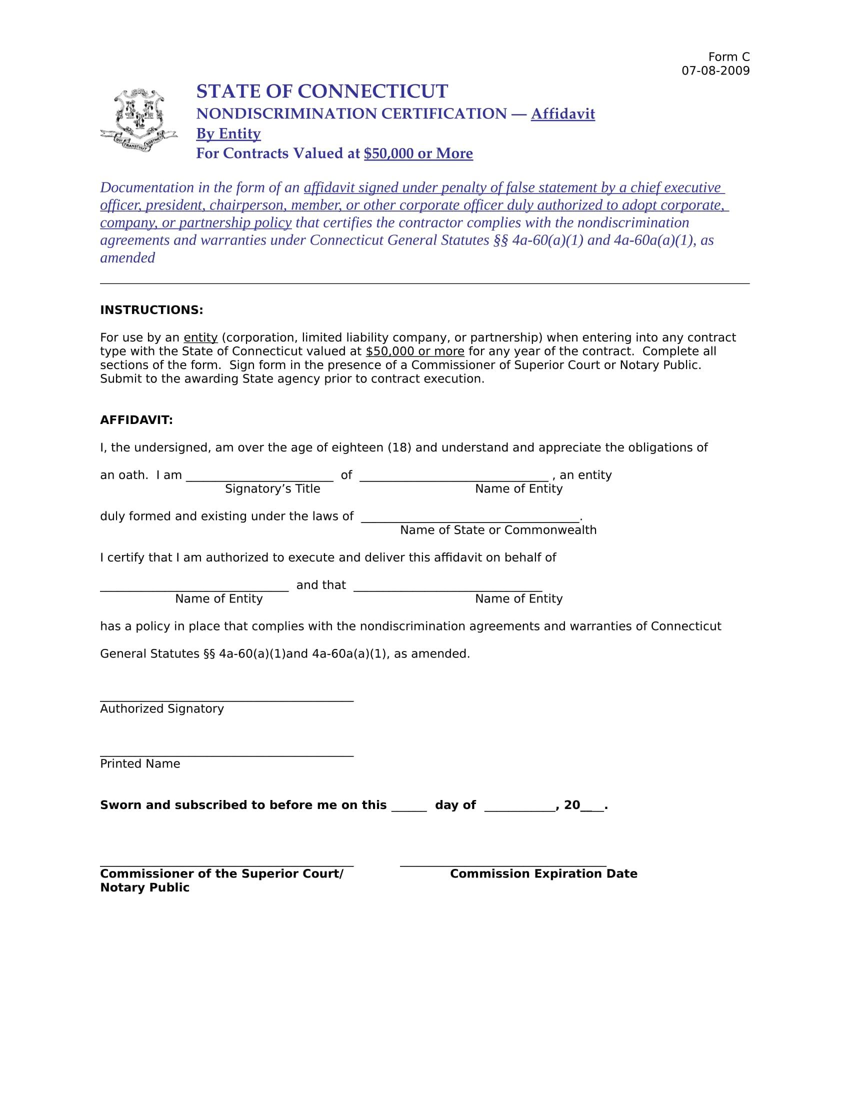 non discrimination affidavit form sample 1