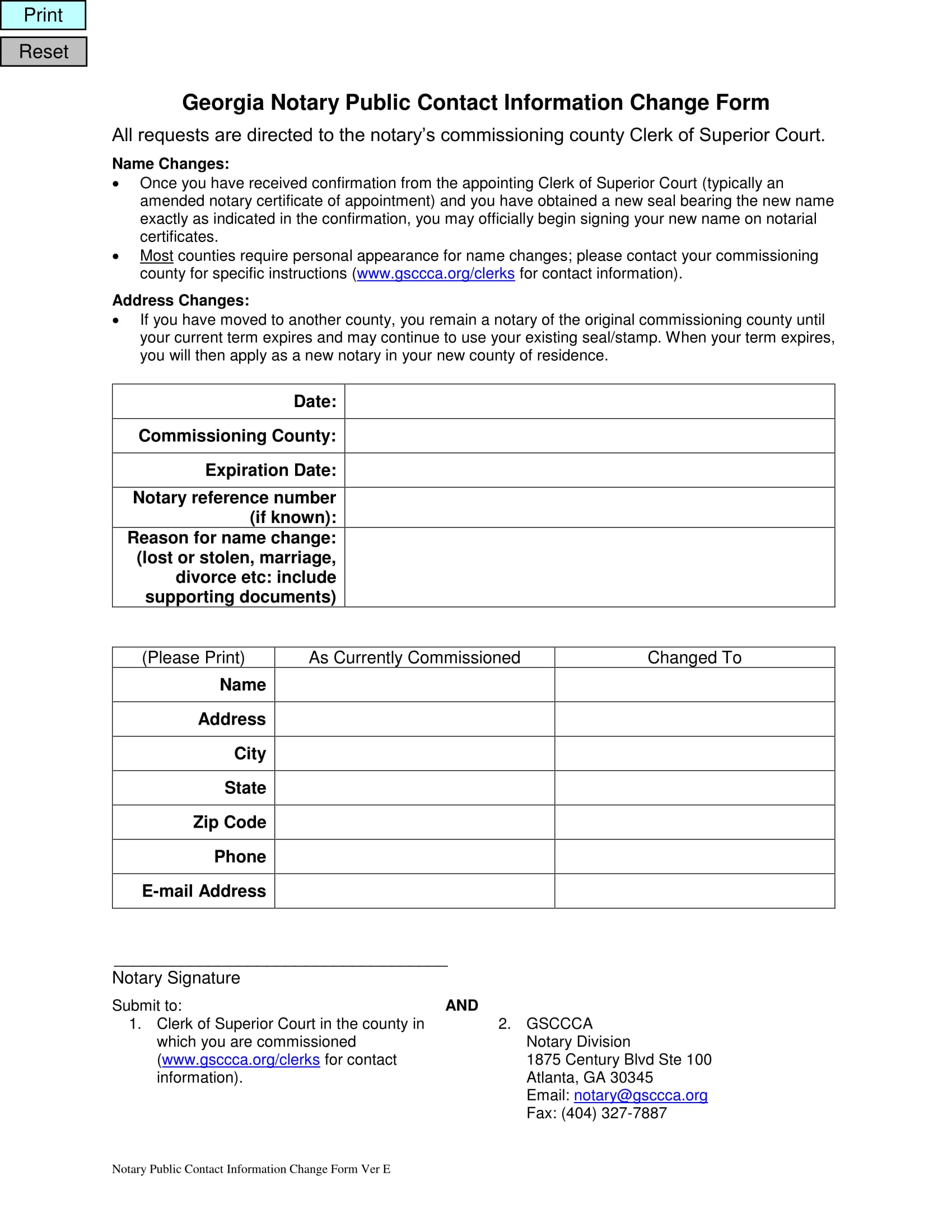 notary change verification form 1