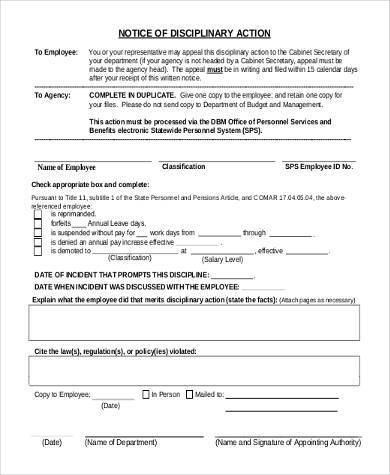 notice of disciplinary action form for employee 390