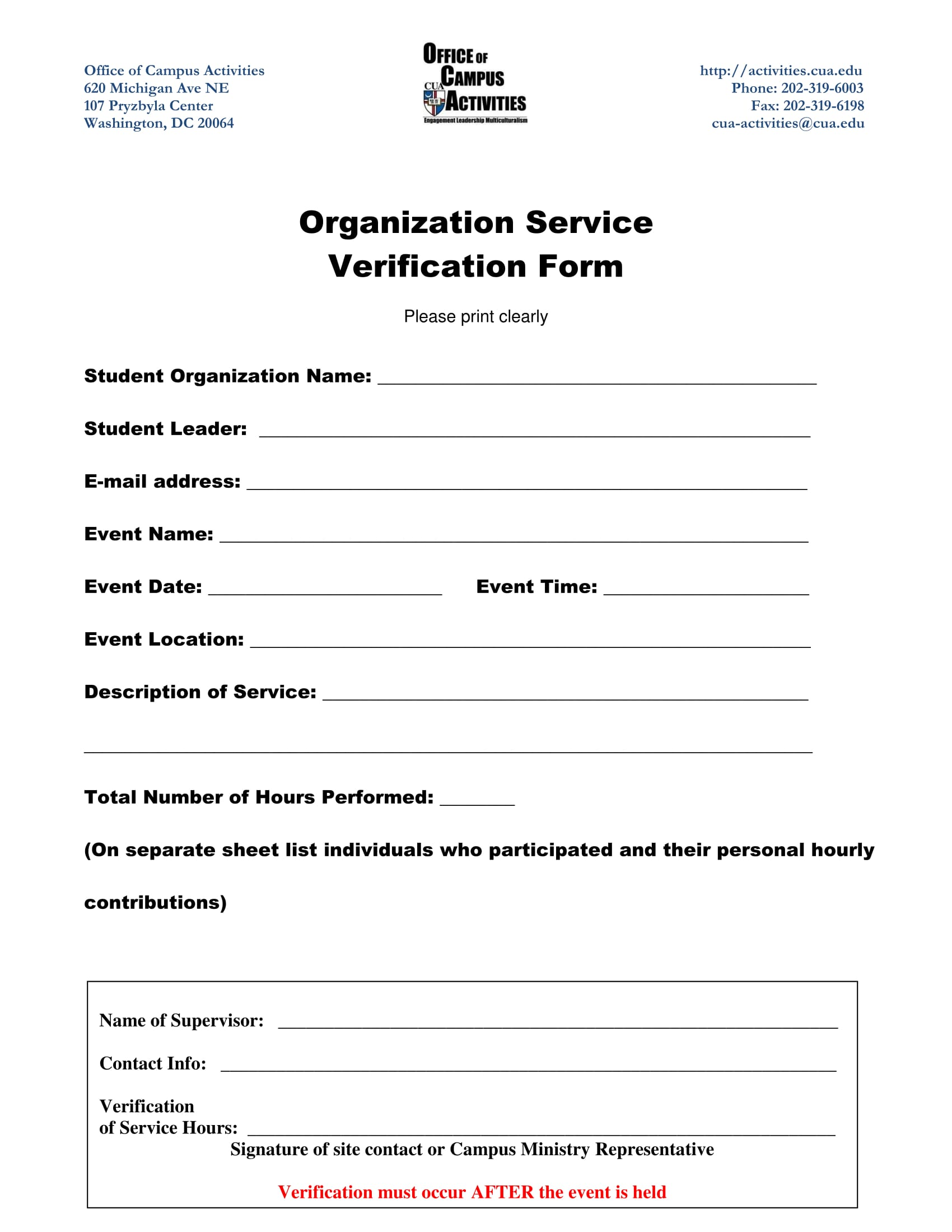 organization service verification form 1