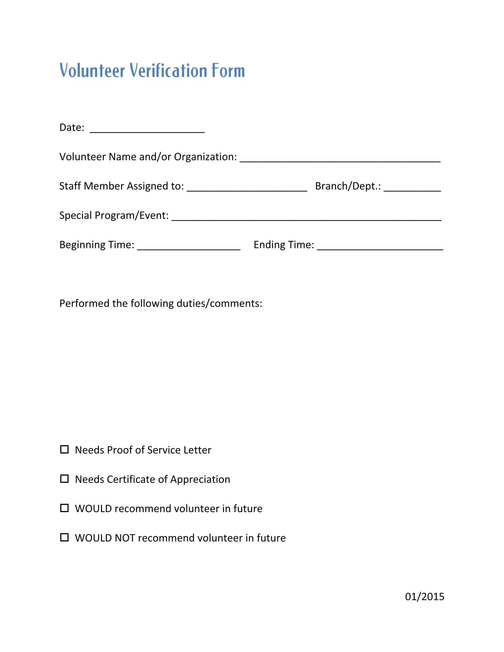 Organization-Volunteer-Verification-Form-1 Volunteer Hours Verification Letter Template on volunteer recommendation letter template, volunteer log, sample volunteer letter template,