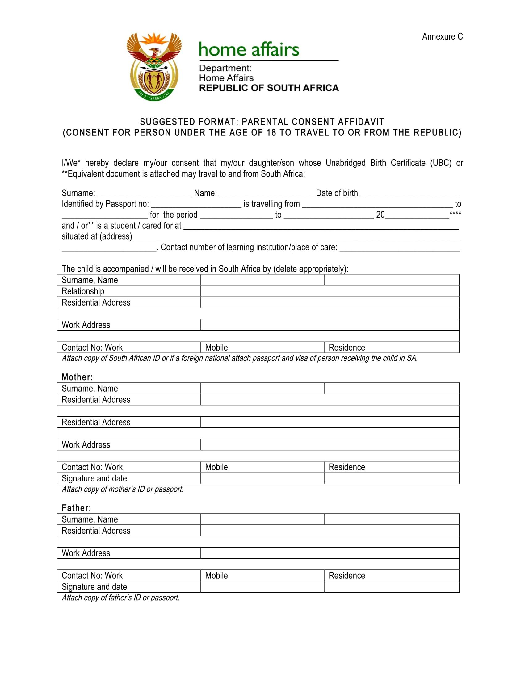 parental consent affidavit format 1