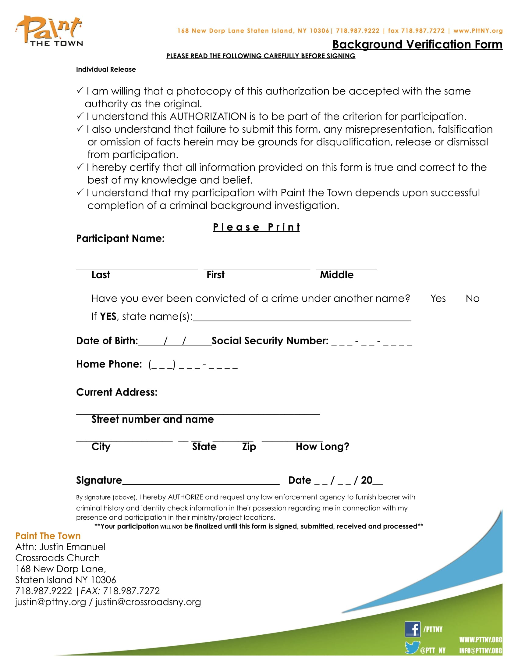 participant background verification form 1