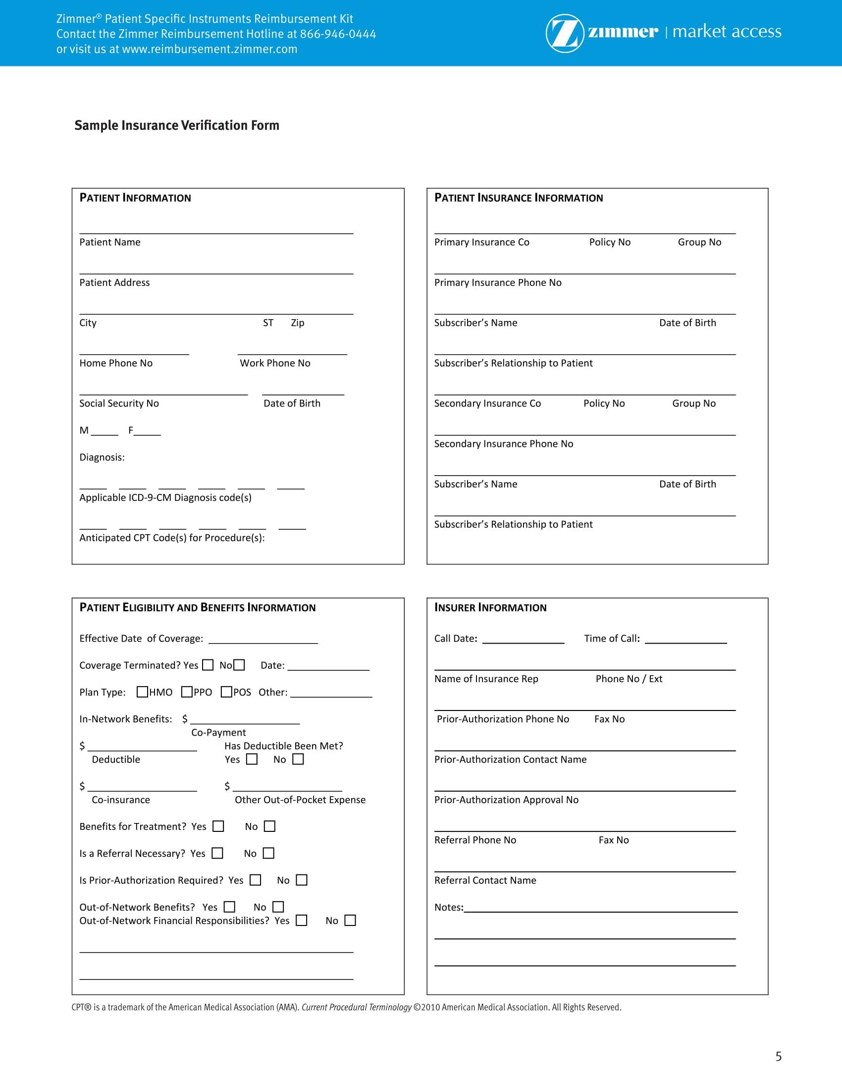 patient insurance verification form 1