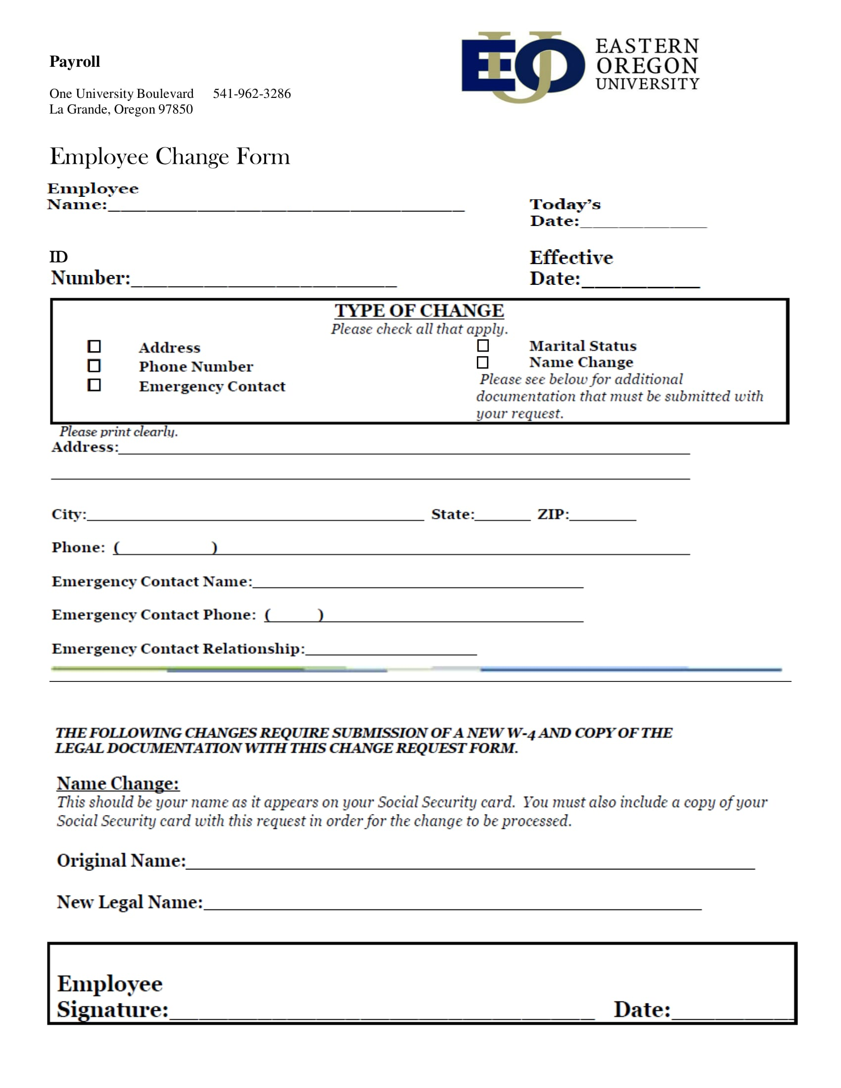 payroll employee change verification form 1