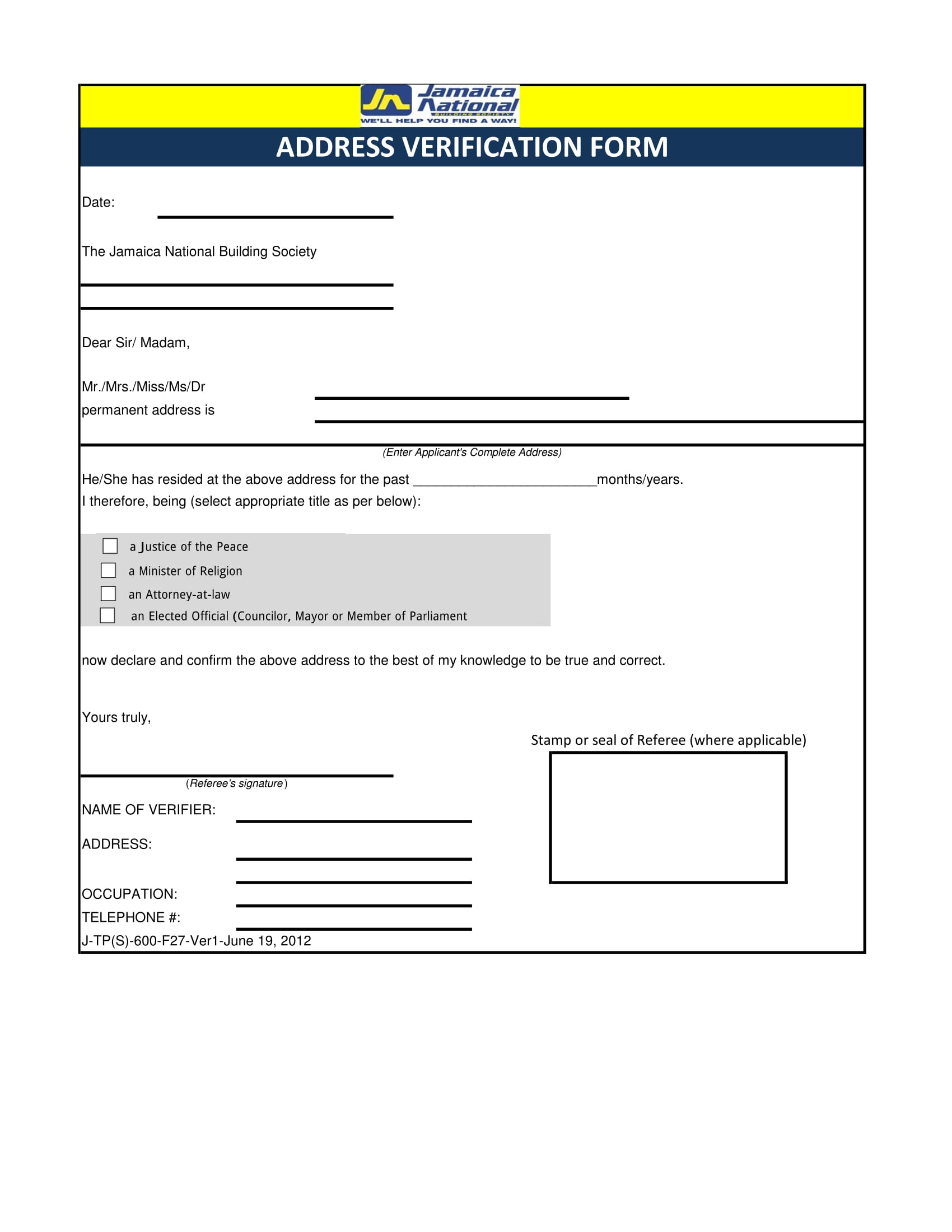 permanent address verification form 1