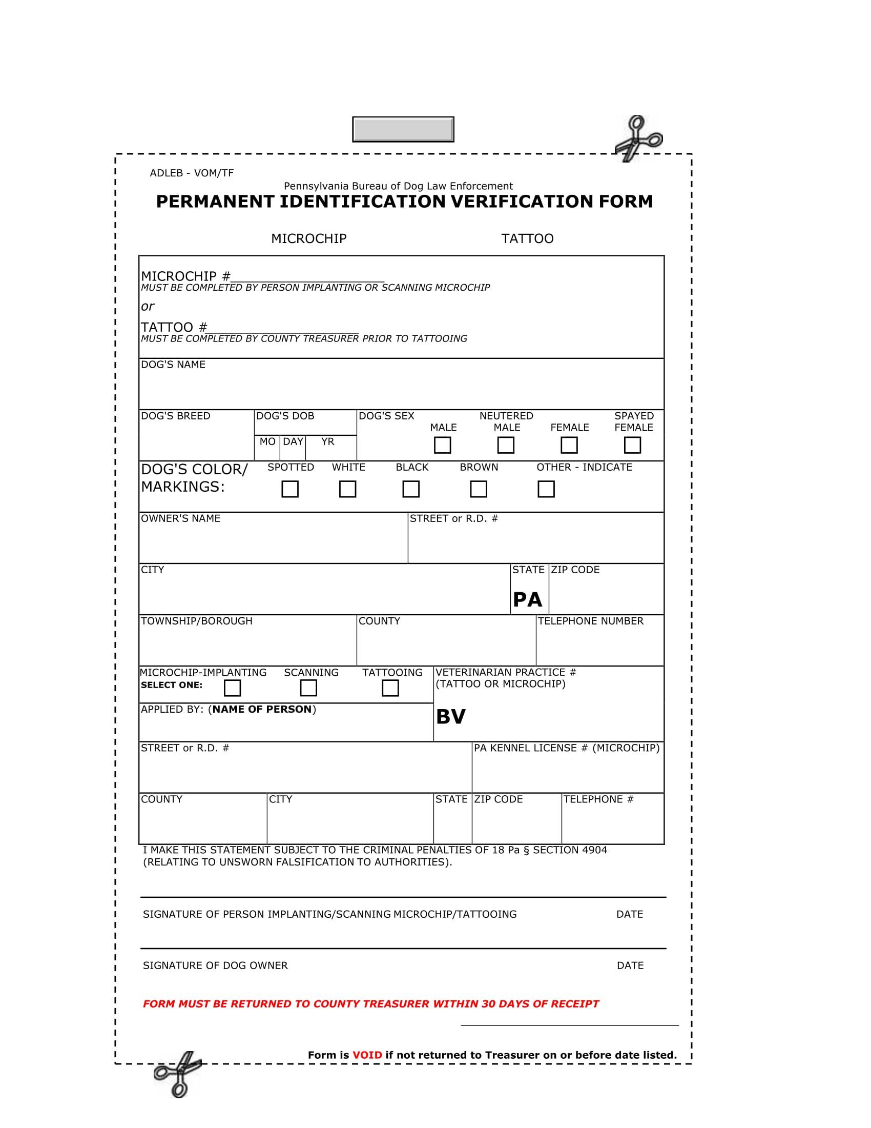 permanent identification verification form 1