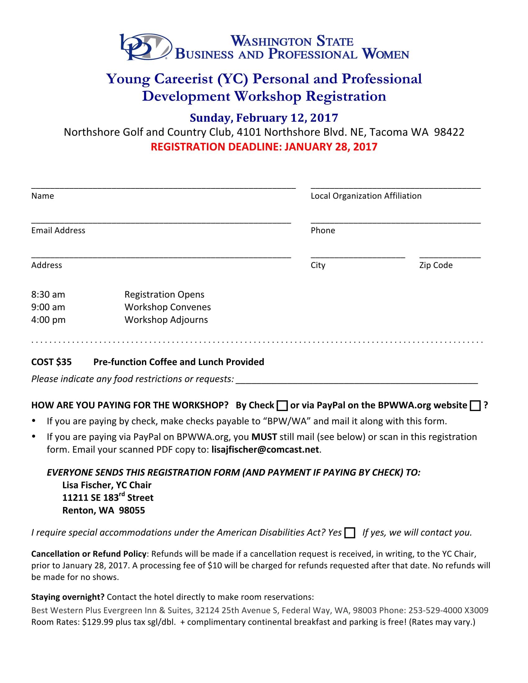 personal professional development workshop registration 1