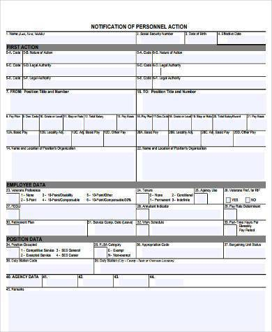 personnel action notice form 390