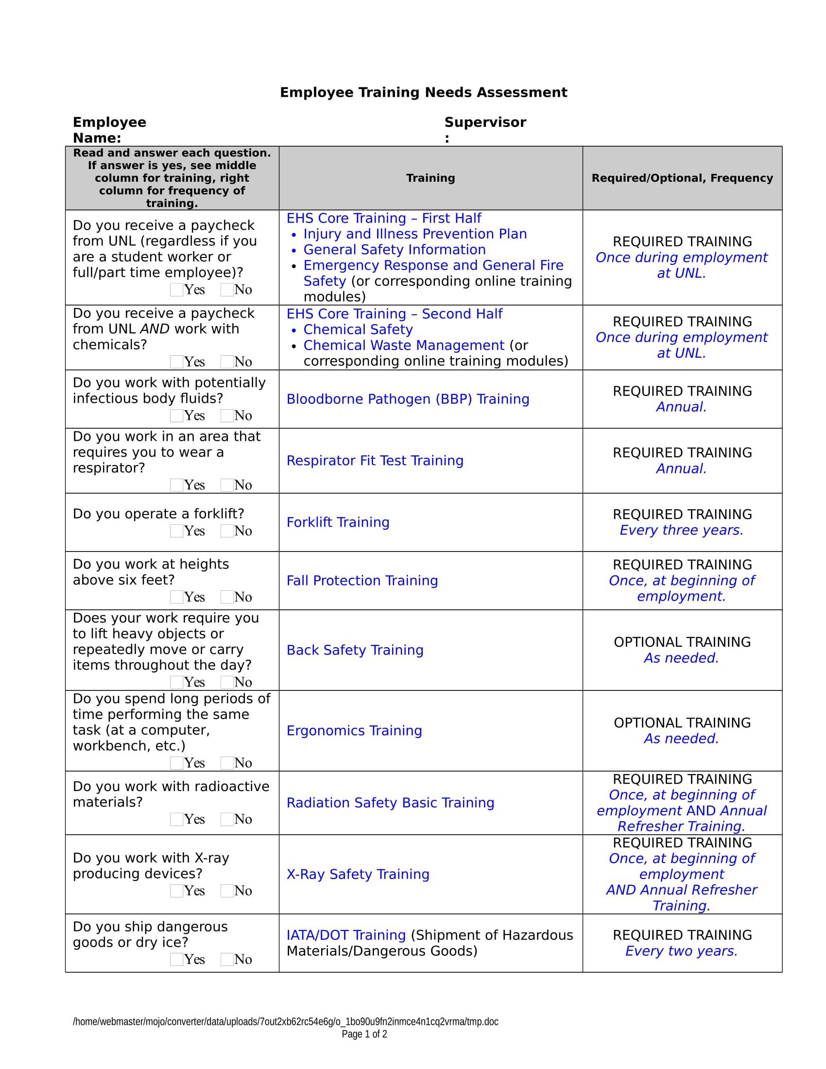 personnelsafetytrainingneedsassessmentform 1