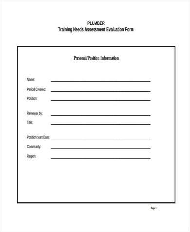 plumber training needs assessment evaluation form 390