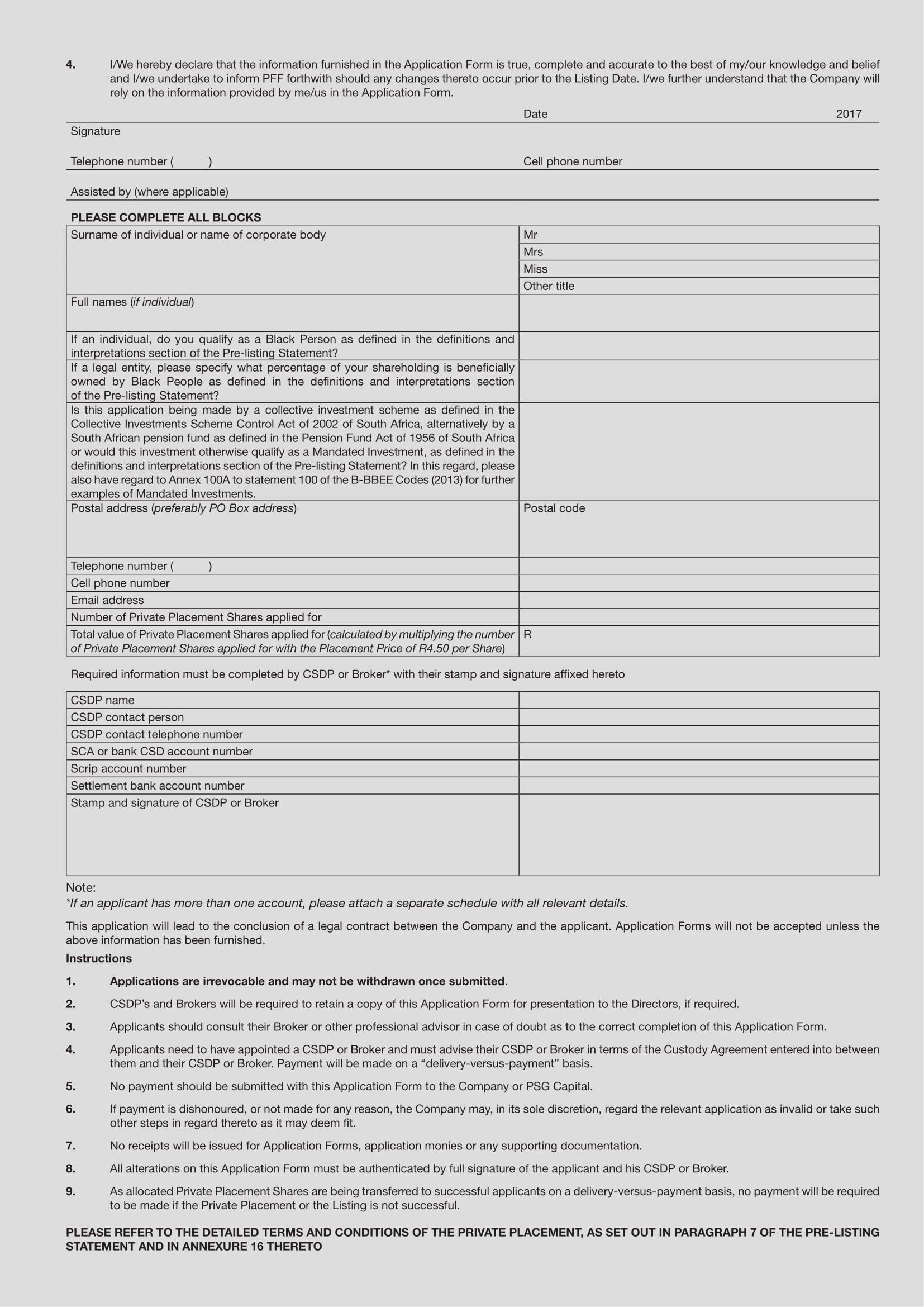 premier food fishing ltd private placement application form 1 2