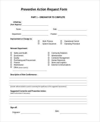 preventive action request form 390