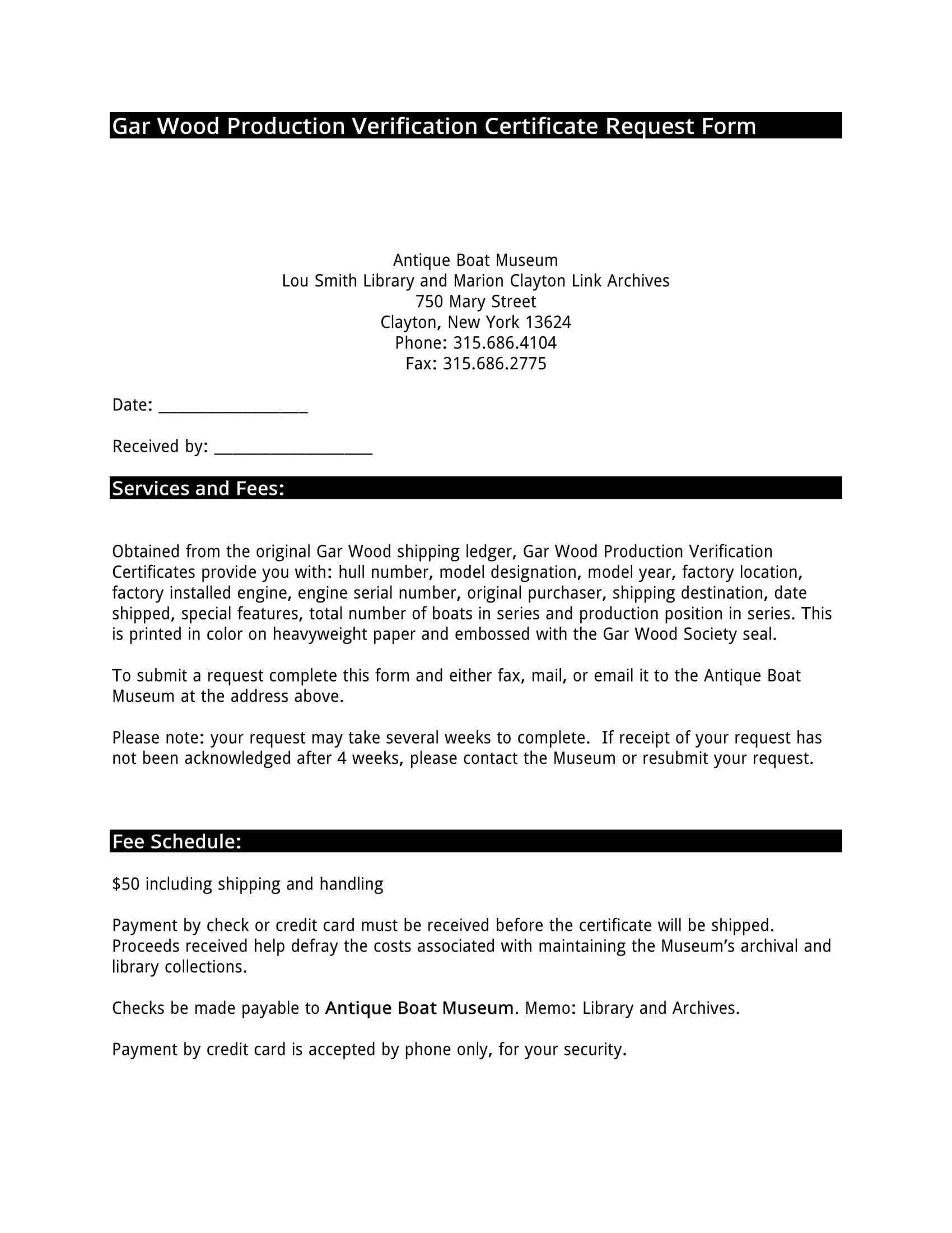 production verification certificate request form 1