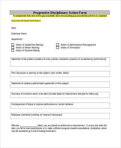 progressive disciplinary action form 3901