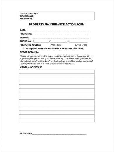 property maintenance action form 390 1