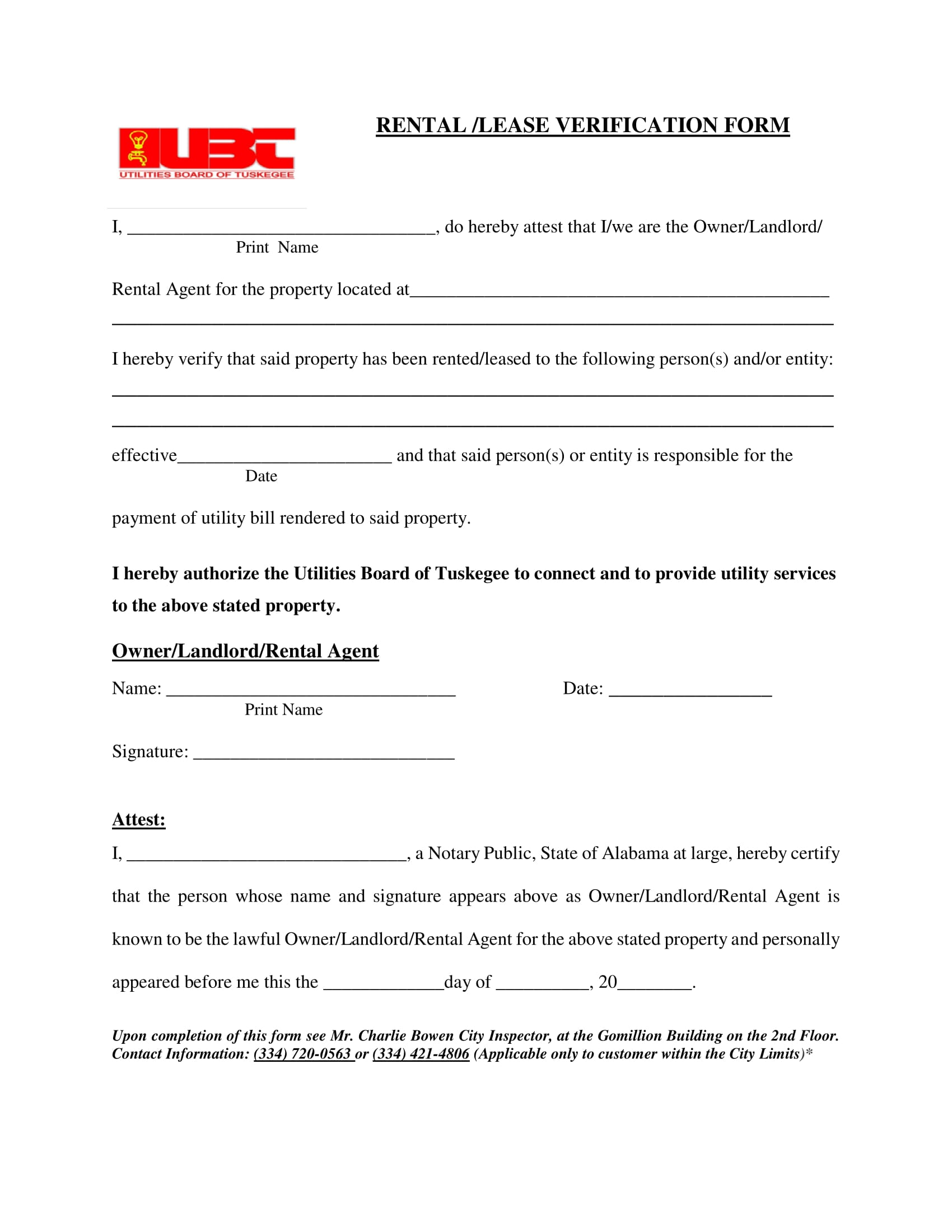 Landlord Verification Form Free Daily Lesson Plan Template