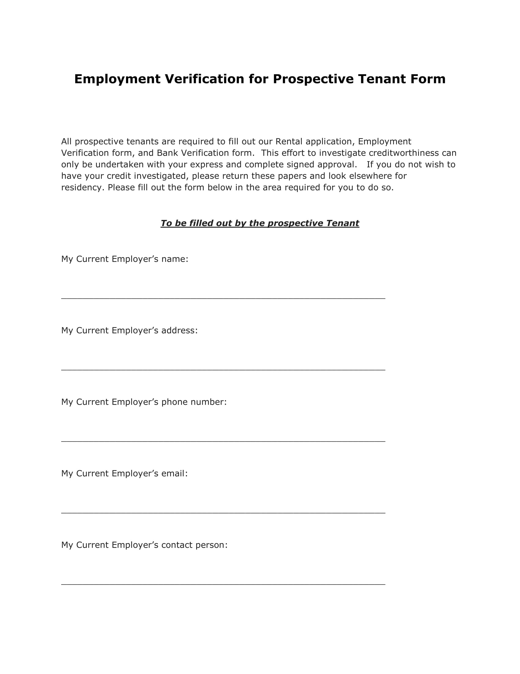 Tenant Employment Verification Form Prospective Tenant Employment  Verification Form 1 Tenant Employment Verificationhtml Landlord Employment  Verification ...  Landlord Employment Verification Form