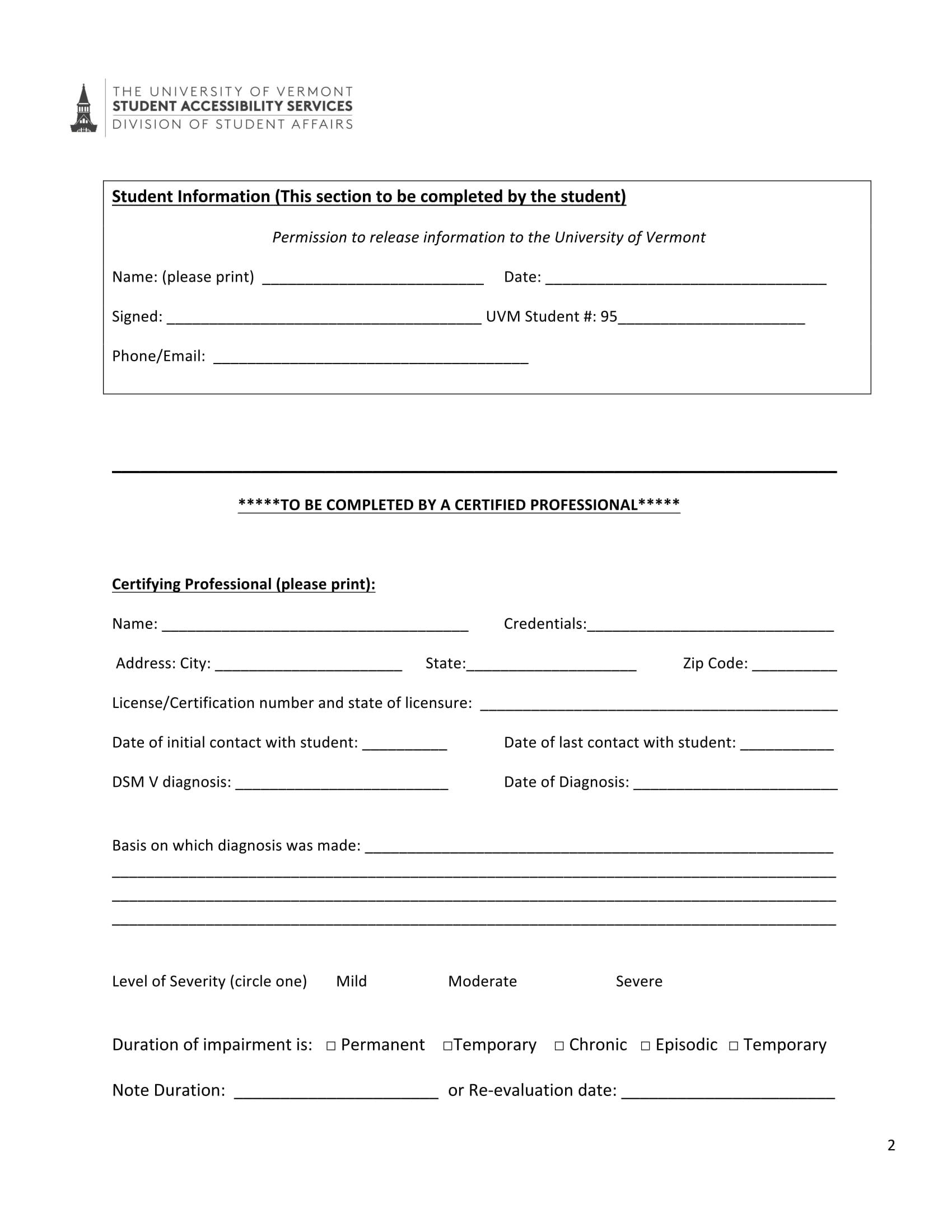 psychological disability verification form 2