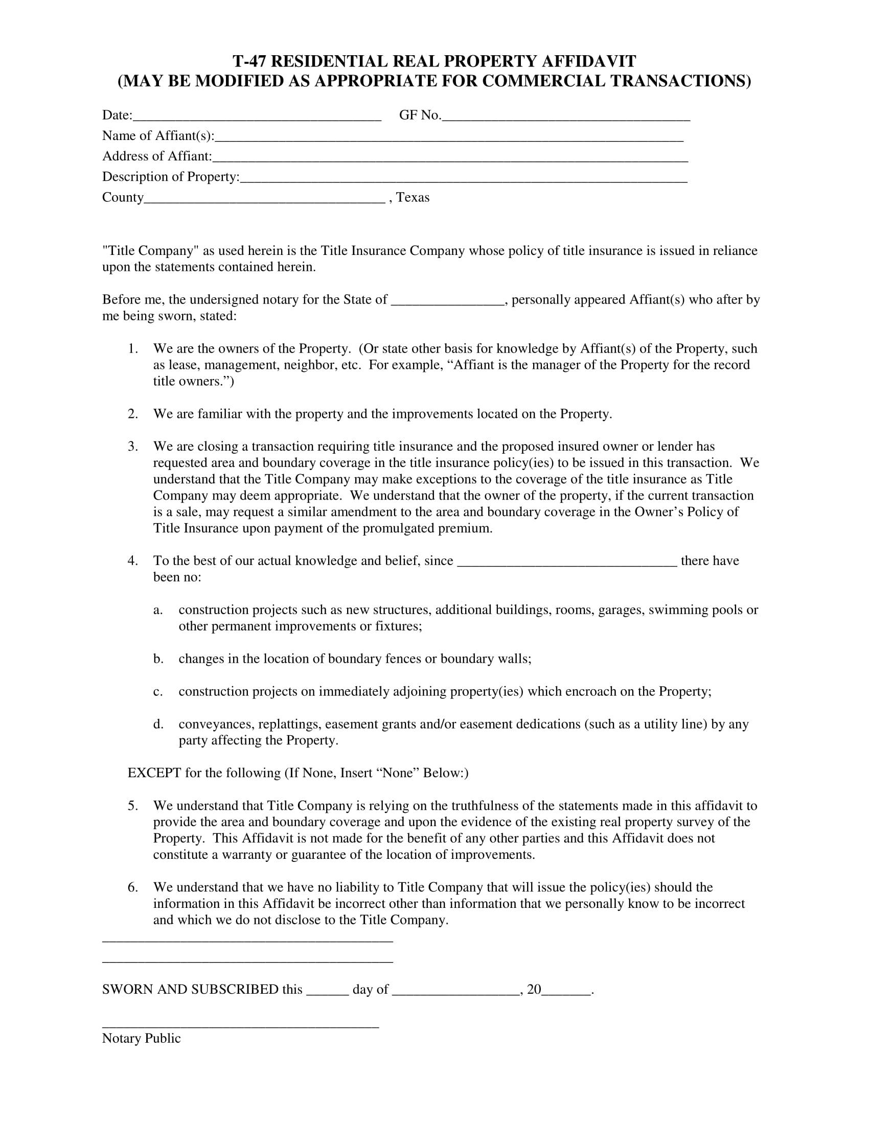 real property affidavit form sample 1