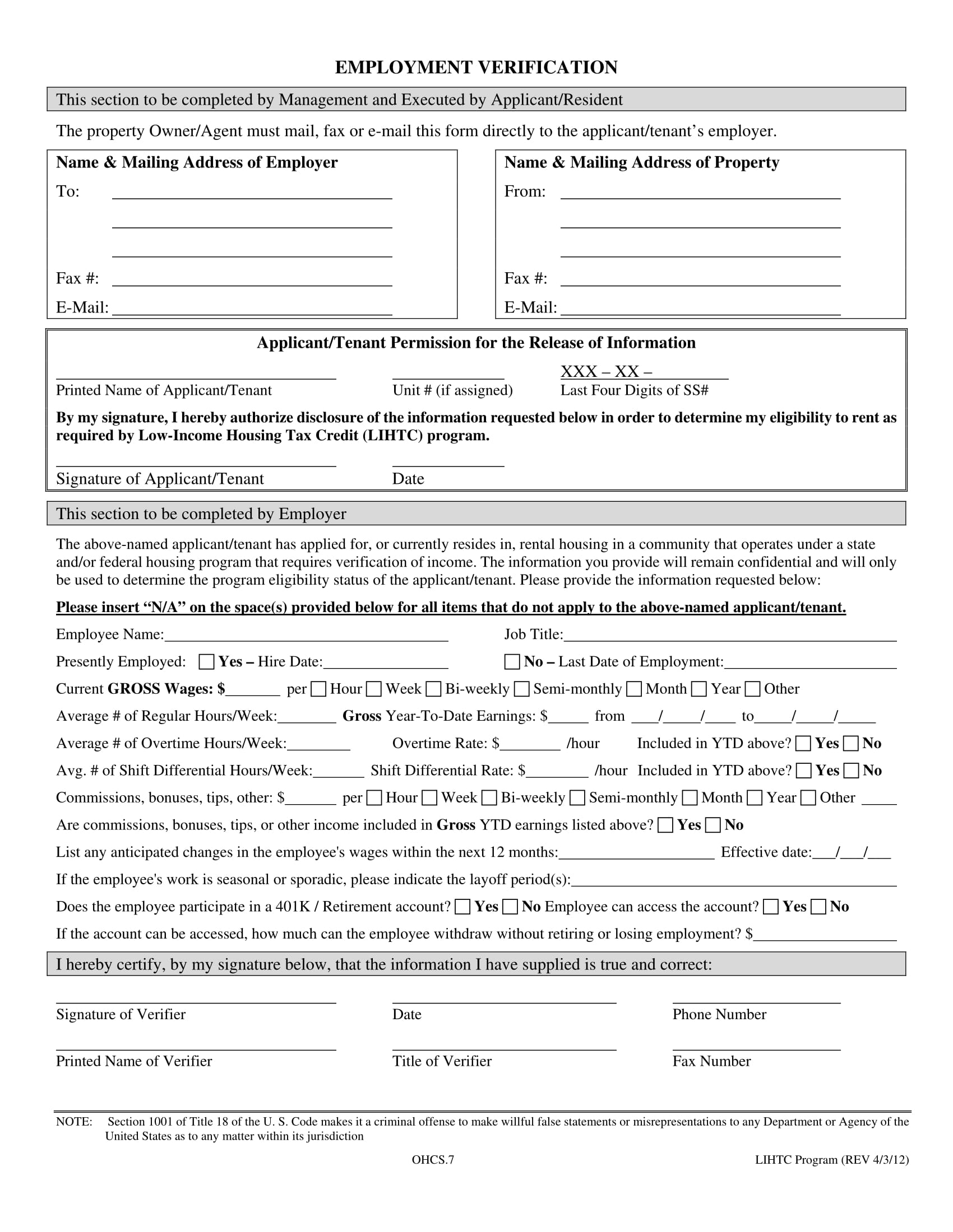 resident tenant employment verification form 1