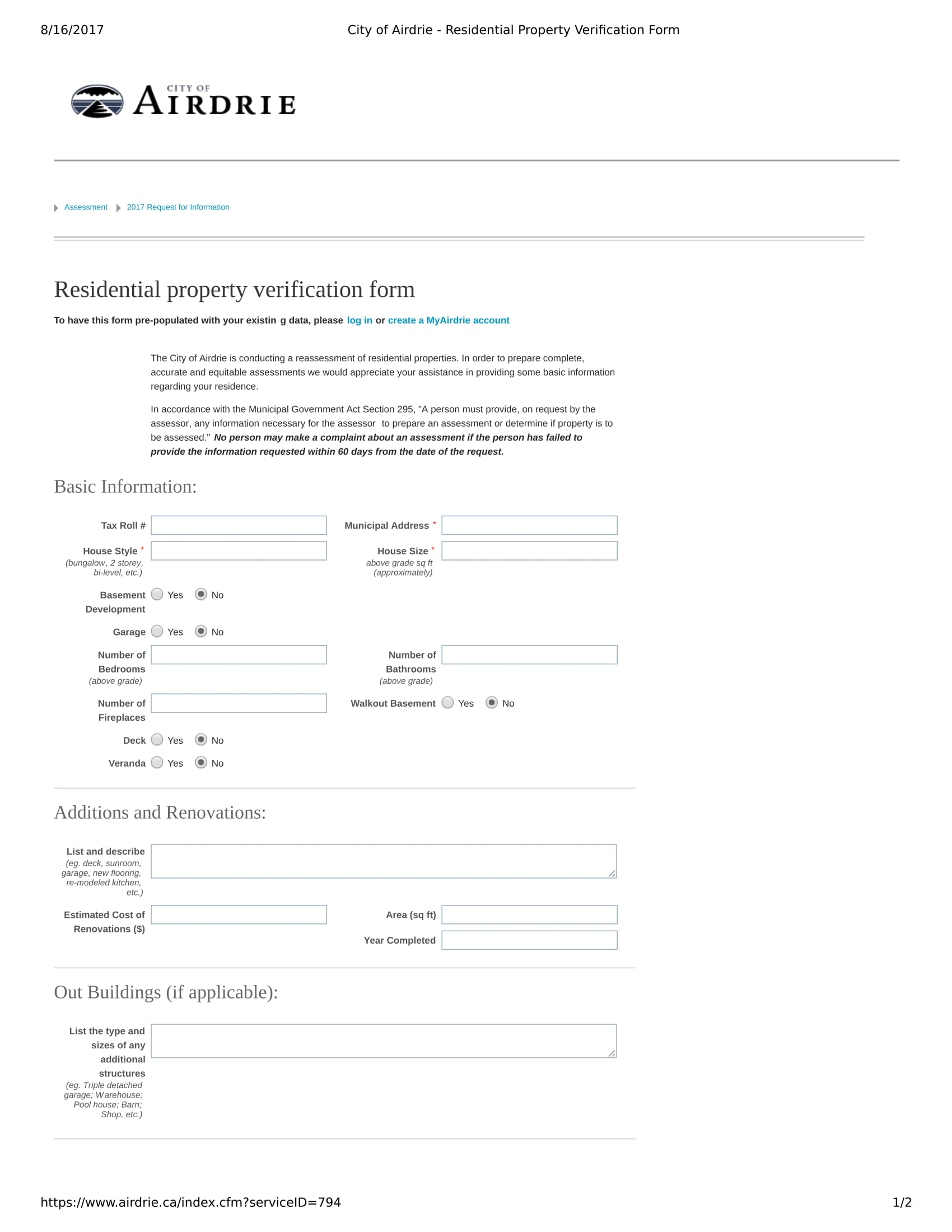 residential property verification form 1