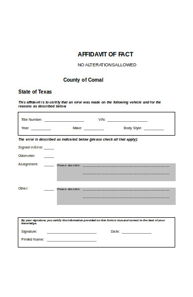 sample affidavit of fact form