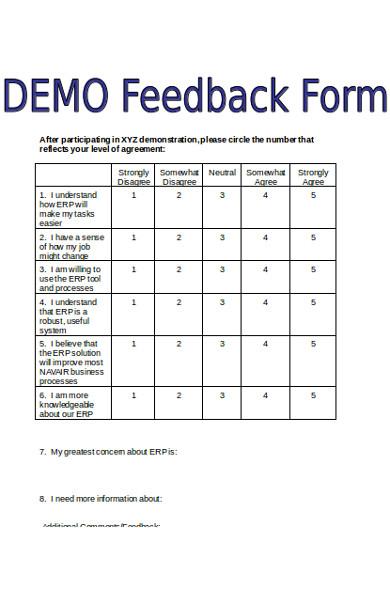 sample demo feedback form
