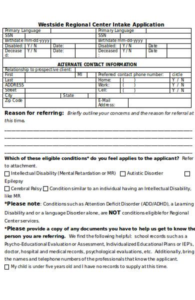 sample intake assessment form