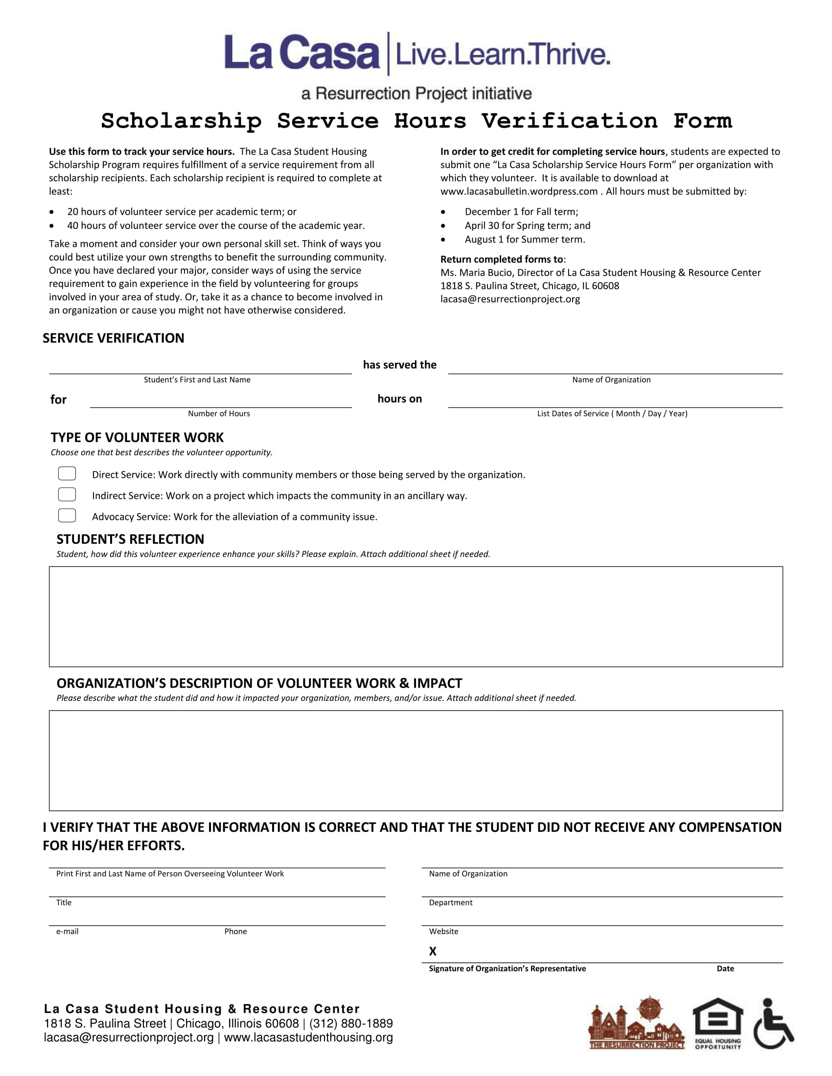 scholarship service hours verification form 1